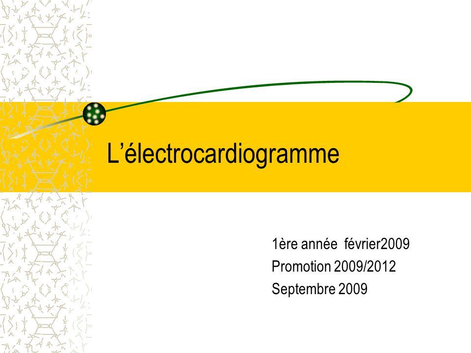 Lélectrocardiogramme 1ère année février2009 Promotion 2009/2012 Septembre 2009
