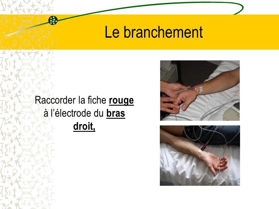Le branchement Raccorder la fiche rouge à lélectrode du bras droit,