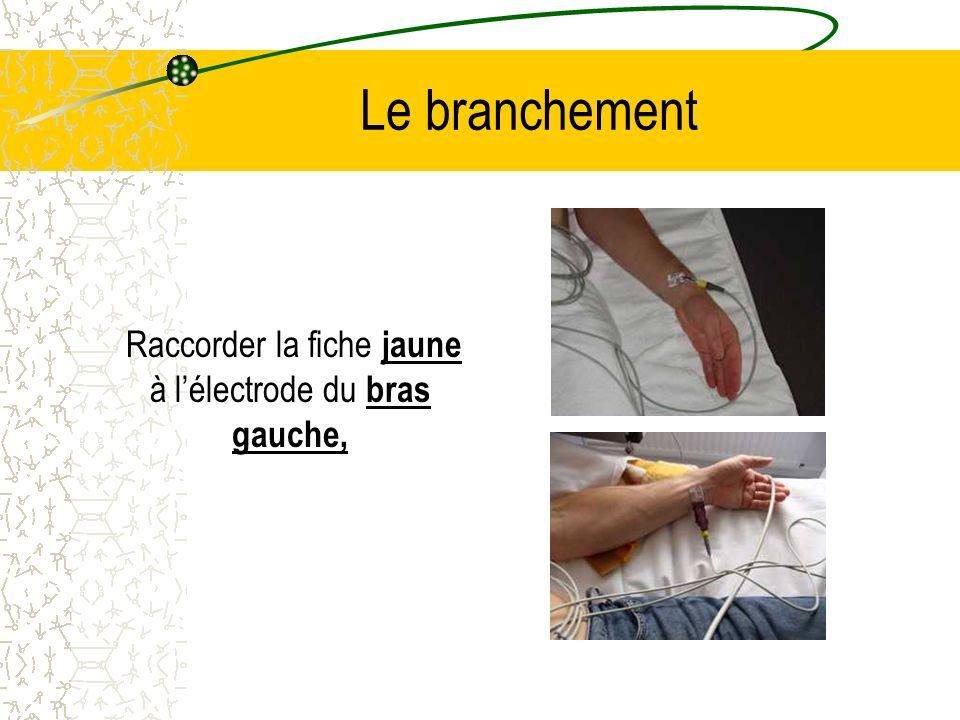 Le branchement Raccorder la fiche jaune à lélectrode du bras gauche,