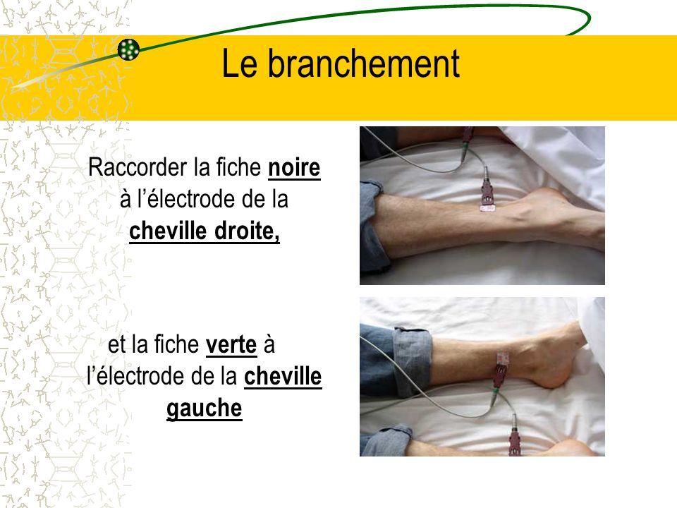 Le branchement Raccorder la fiche noire à lélectrode de la cheville droite, et la fiche verte à lélectrode de la cheville gauche