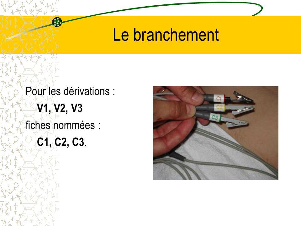 Le branchement Pour les dérivations : V1, V2, V3 fiches nommées : C1, C2, C3.