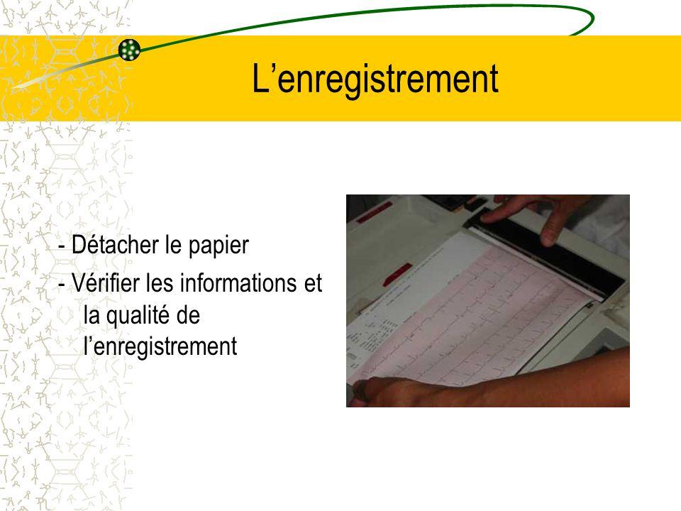 Lenregistrement - Détacher le papier - Vérifier les informations et la qualité de lenregistrement