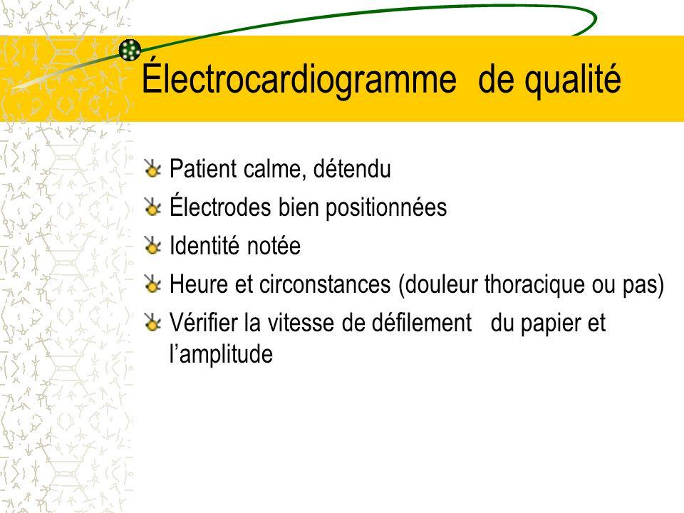 Électrocardiogramme de qualité Patient calme, détendu Électrodes bien positionnées Identité notée Heure et circonstances (douleur thoracique ou pas) V