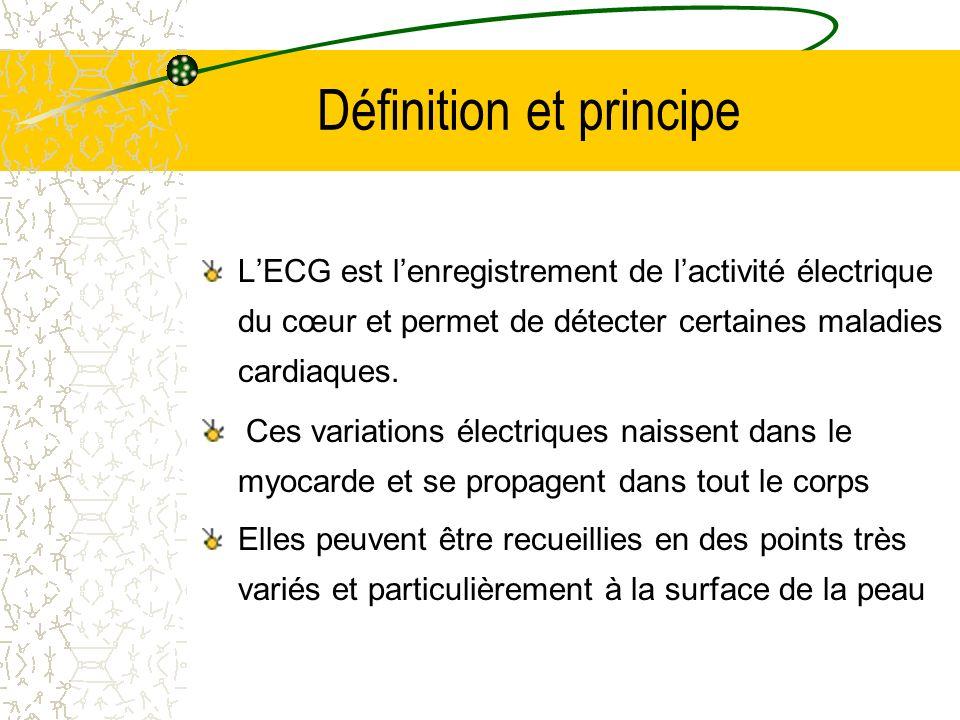Définition et principe LECG est lenregistrement de lactivité électrique du cœur et permet de détecter certaines maladies cardiaques. Ces variations él