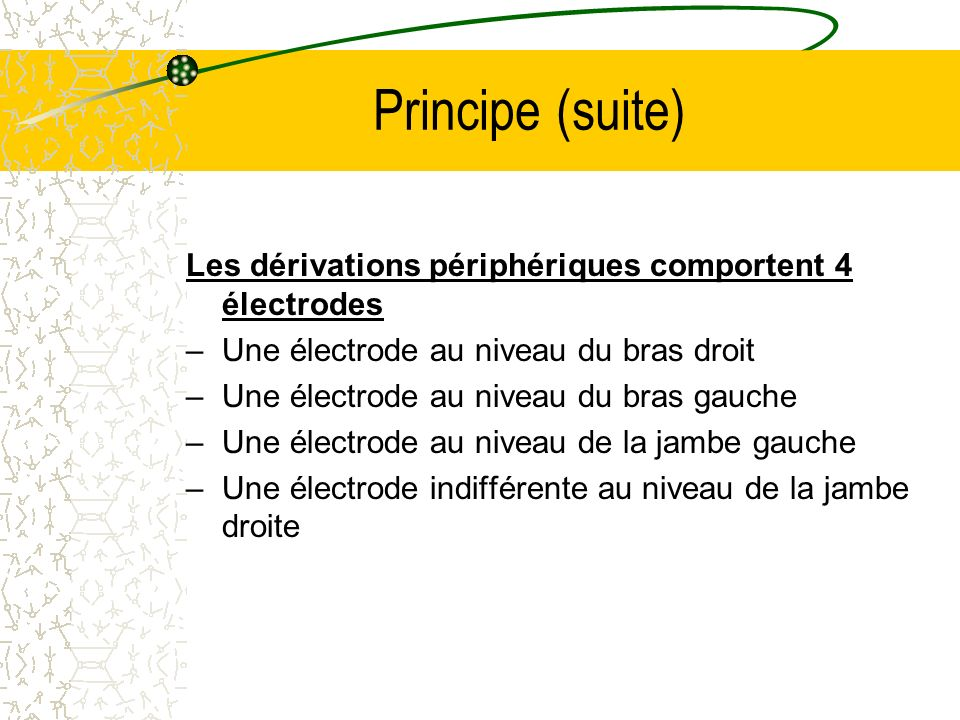 Principe (suite) Les dérivations périphériques comportent 4 électrodes –Une électrode au niveau du bras droit –Une électrode au niveau du bras gauche