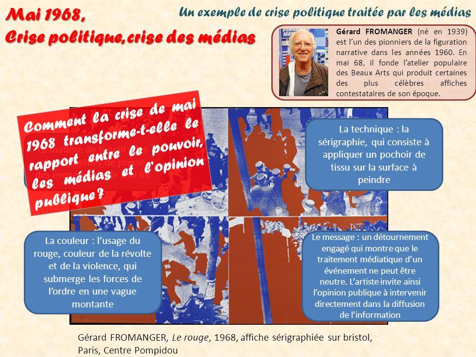 Un exemple de crise politique traitée par les médias Gérard FROMANGER, Le rouge, 1968, affiche sérigraphiée sur bristol, Paris, Centre Pompidou Mai 19