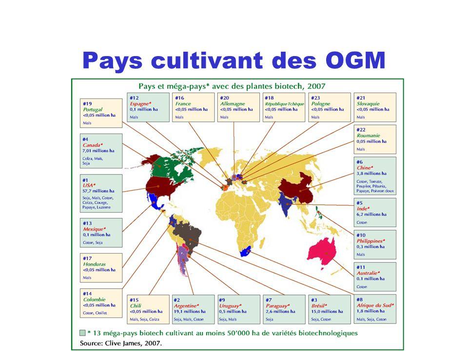 Pays cultivant des OGM