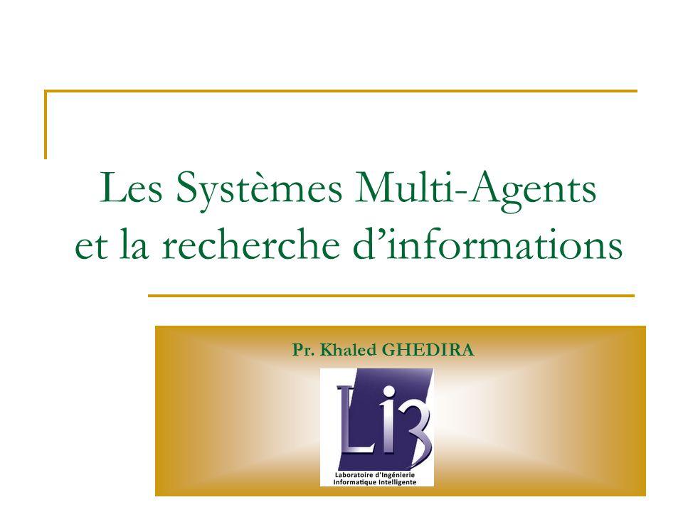 JEI Veille stratégique, Lyon 26-27 Mars 2010 Khaled GHEDIRA, LI3 Agents intelligents AFNOR : Objet utilisant les techniques de l intelligence artificielle : il adapte son comportement à son environnement et en mémorisant ses expériences, se comporte comme un sous-système capable d apprentissage : il enrichit le système qui l utilise en ajoutant, au cours du temps, des fonctions automatiques de traitement, de contrôle, de mémorisation ou de transfert d informations - - - Un agent intelligent est un logiciel mis au point pour remplir et automatiser une tâche sur un réseau pour le compte de son utilisateur.