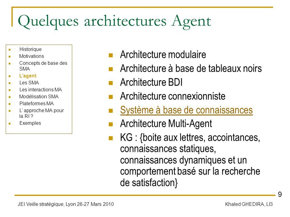 JEI Veille stratégique, Lyon 26-27 Mars 2010 Khaled GHEDIRA, LI3 Quelques architectures Agent Architecture modulaire Architecture à base de tableaux n