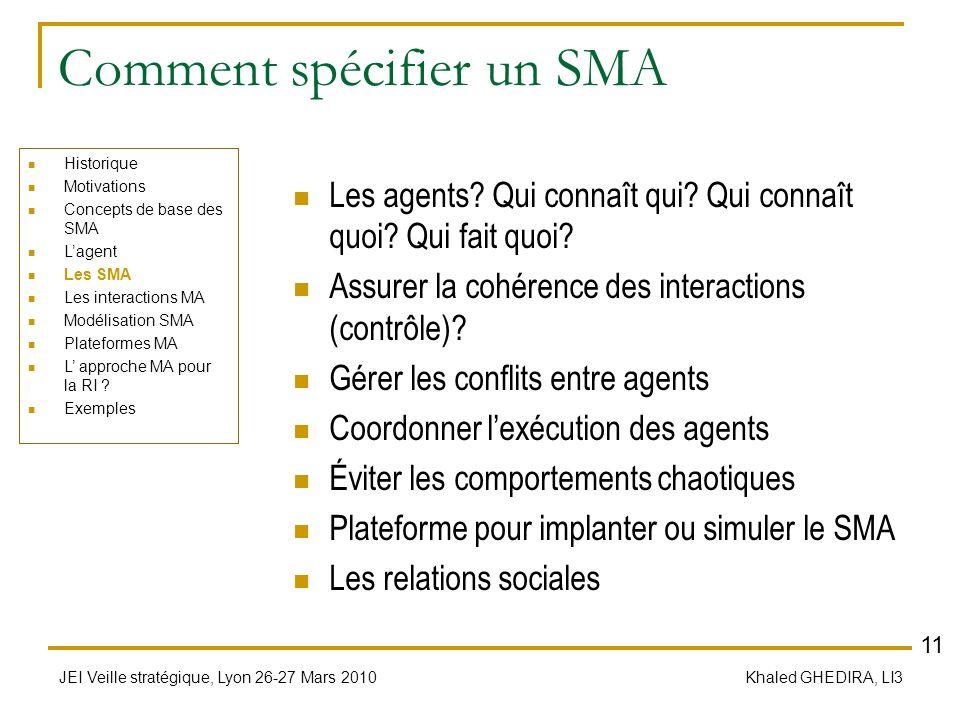 JEI Veille stratégique, Lyon 26-27 Mars 2010 Khaled GHEDIRA, LI3 Comment spécifier un SMA Les agents? Qui connaît qui? Qui connaît quoi? Qui fait quoi