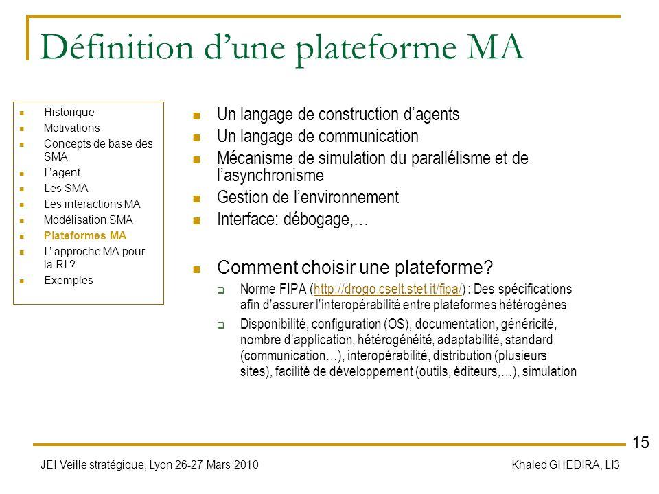 JEI Veille stratégique, Lyon 26-27 Mars 2010 Khaled GHEDIRA, LI3 Définition dune plateforme MA Un langage de construction dagents Un langage de commun