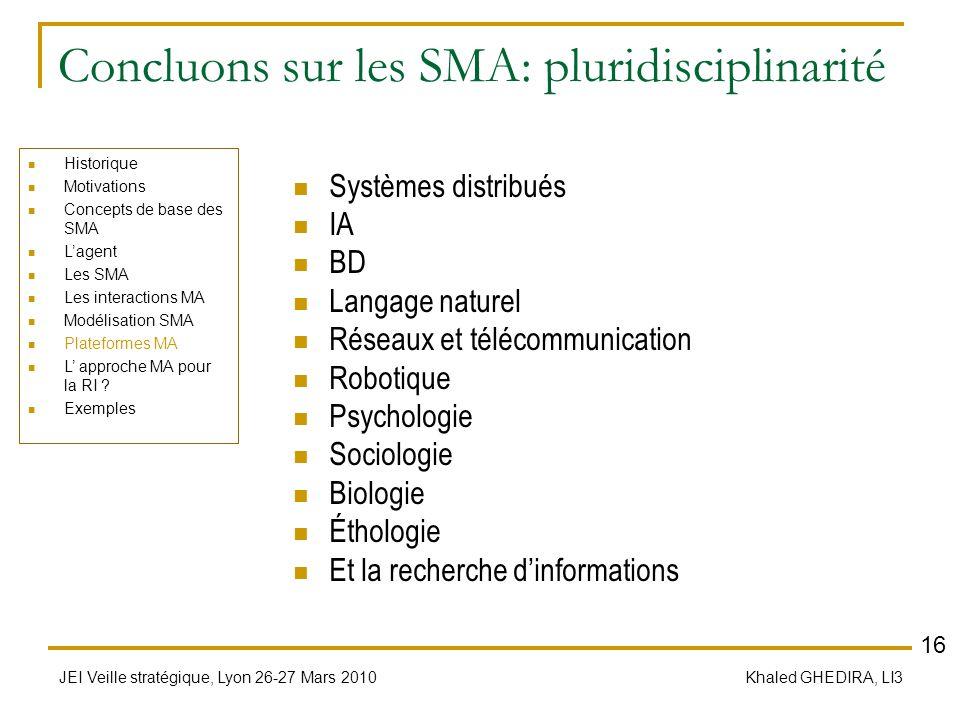 JEI Veille stratégique, Lyon 26-27 Mars 2010 Khaled GHEDIRA, LI3 Concluons sur les SMA: pluridisciplinarité Systèmes distribués IA BD Langage naturel
