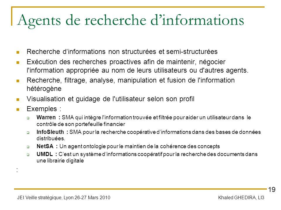 JEI Veille stratégique, Lyon 26-27 Mars 2010 Khaled GHEDIRA, LI3 Agents de recherche dinformations Recherche dinformations non structurées et semi-str