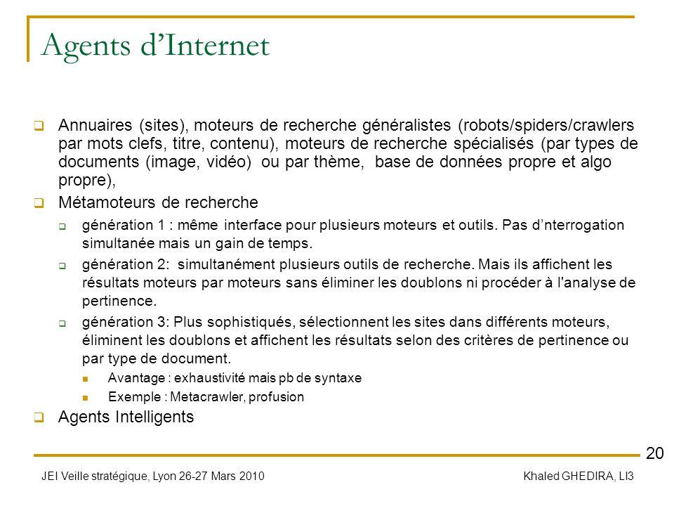 JEI Veille stratégique, Lyon 26-27 Mars 2010 Khaled GHEDIRA, LI3 Agents dInternet Annuaires (sites), moteurs de recherche généralistes (robots/spiders