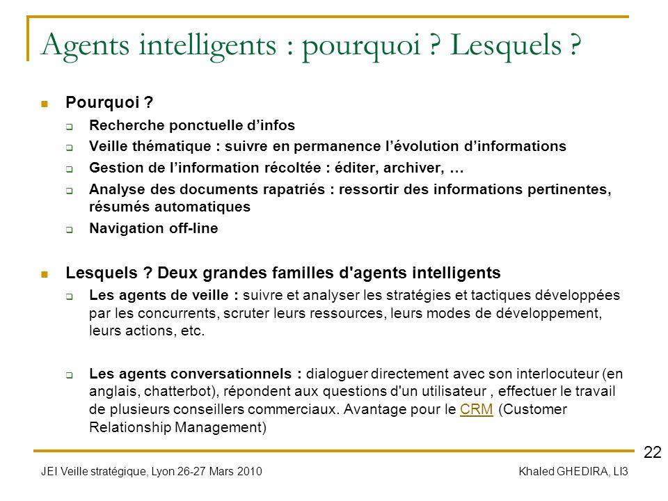 JEI Veille stratégique, Lyon 26-27 Mars 2010 Khaled GHEDIRA, LI3 Agents intelligents : pourquoi ? Lesquels ? Pourquoi ? Recherche ponctuelle dinfos Ve