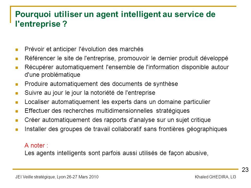 JEI Veille stratégique, Lyon 26-27 Mars 2010 Khaled GHEDIRA, LI3 Pourquoi utiliser un agent intelligent au service de l'entreprise ? Prévoir et antici