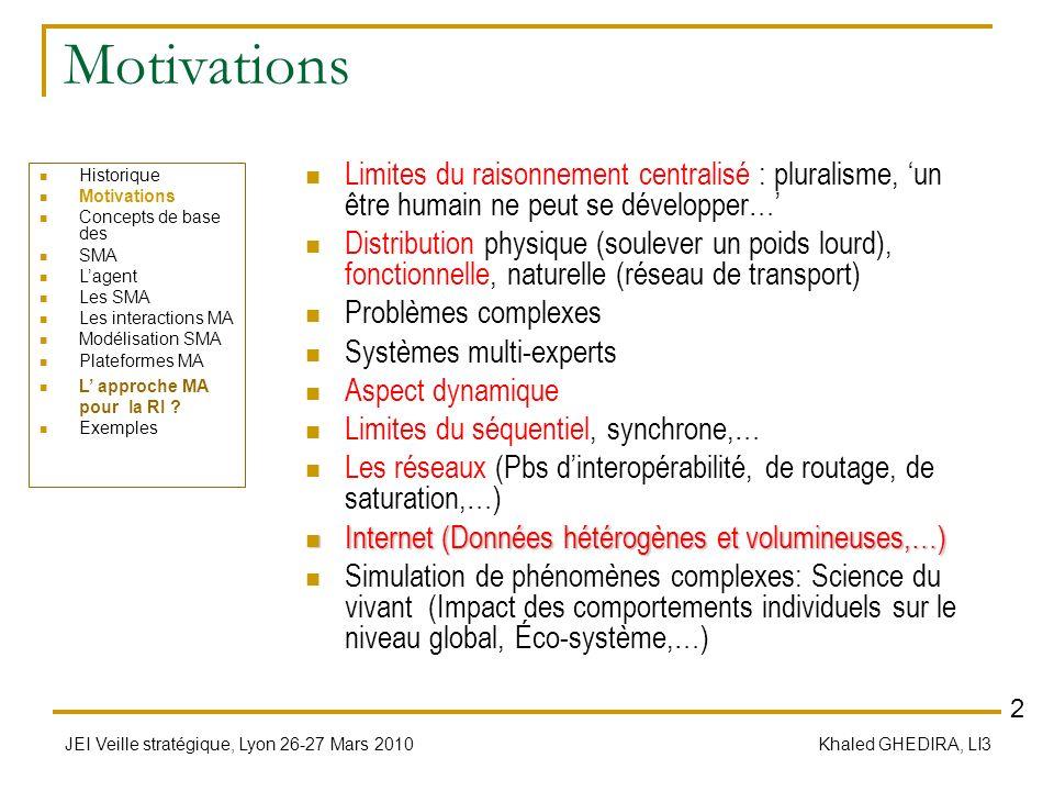 JEI Veille stratégique, Lyon 26-27 Mars 2010 Khaled GHEDIRA, LI3 Concepts de base des SMA SMA = Société dentités en interaction en vue de satisfaire au mieux un ou plusieurs buts Contrôle décentralisé Deux niveaux de description Individuel/Local : Lagent/entité Collectif/Global : La société MA/SMA Les interactions: Communication, Coopération, Négociation, Concurrence,… Optimisation locale/globale & mono/multi-critère Modélisation multi-agent: Conception, spécification Implémentation Historique Motivations Concepts de base des SMA Lagent Les SMA Les interactions MA Modélisation SMA Plateformes MA L approche MA pour la RI .