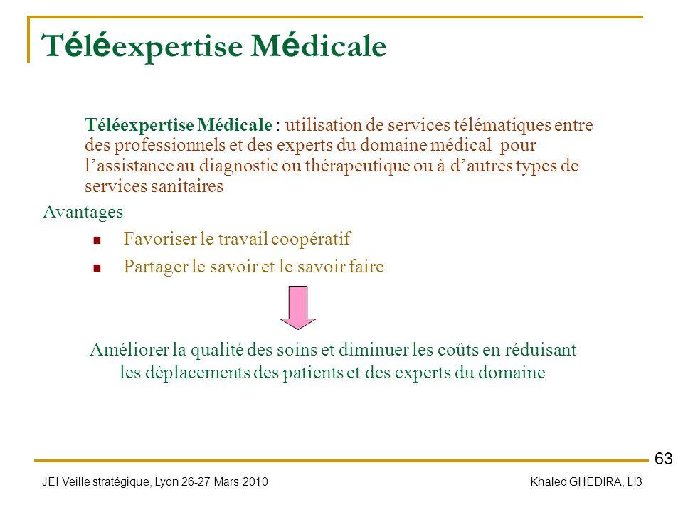 JEI Veille stratégique, Lyon 26-27 Mars 2010 Khaled GHEDIRA, LI3 T é l é expertise M é dicale Avantages Favoriser le travail coopératif Partager le sa
