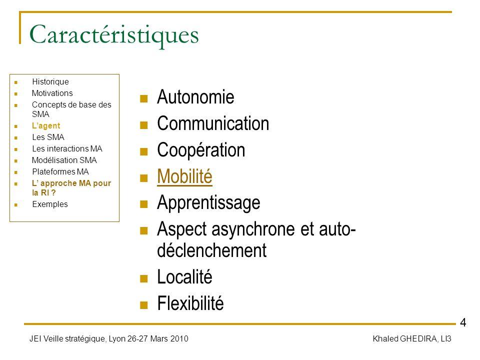 JEI Veille stratégique, Lyon 26-27 Mars 2010 Khaled GHEDIRA, LI3 Caractéristiques Autonomie Communication Coopération Mobilité Apprentissage Aspect as