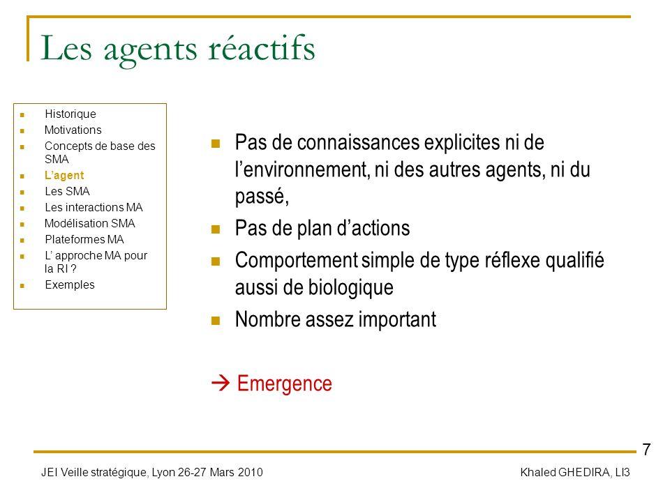 JEI Veille stratégique, Lyon 26-27 Mars 2010 Khaled GHEDIRA, LI3 Les agents réactifs Pas de connaissances explicites ni de lenvironnement, ni des autr