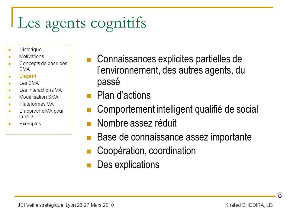 JEI Veille stratégique, Lyon 26-27 Mars 2010 Khaled GHEDIRA, LI3 Les agents cognitifs Connaissances explicites partielles de lenvironnement, des autre
