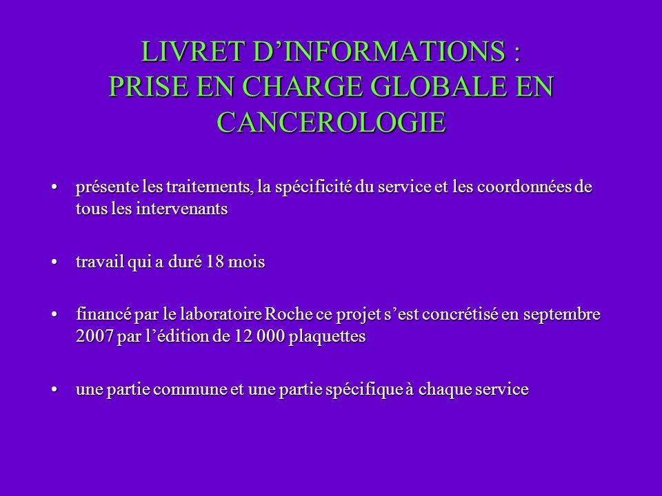 LIVRET DINFORMATIONS : PRISE EN CHARGE GLOBALE EN CANCEROLOGIE présente les traitements, la spécificité du service et les coordonnées de tous les inte