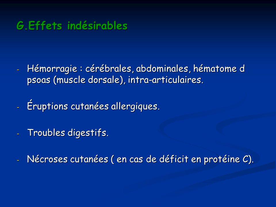 G.Effets indésirables - Hémorragie : cérébrales, abdominales, hématome d psoas (muscle dorsale), intra-articulaires. - Éruptions cutanées allergiques.