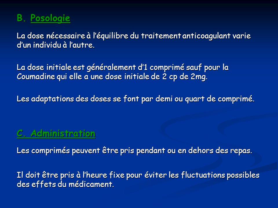 B.Posologie B. Posologie La dose nécessaire à léquilibre du traitement anticoagulant varie dun individu à lautre. La dose initiale est généralement d1