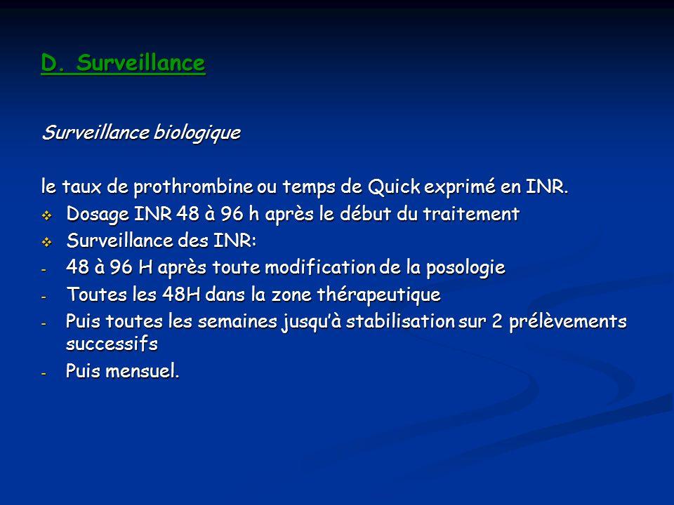 D. Surveillance Surveillance biologique le taux de prothrombine ou temps de Quick exprimé en INR. Dosage INR 48 à 96 h après le début du traitement Do