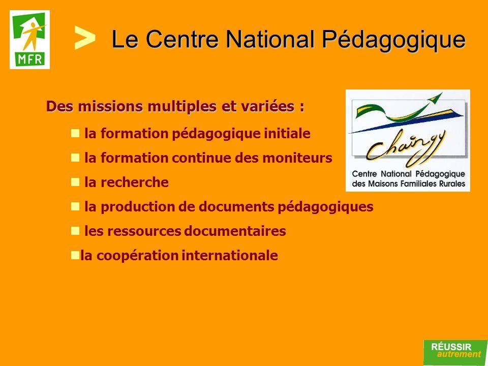 Le Centre National Pédagogique la formation pédagogique initiale la formation continue des moniteurs la recherche la production de documents pédagogiq