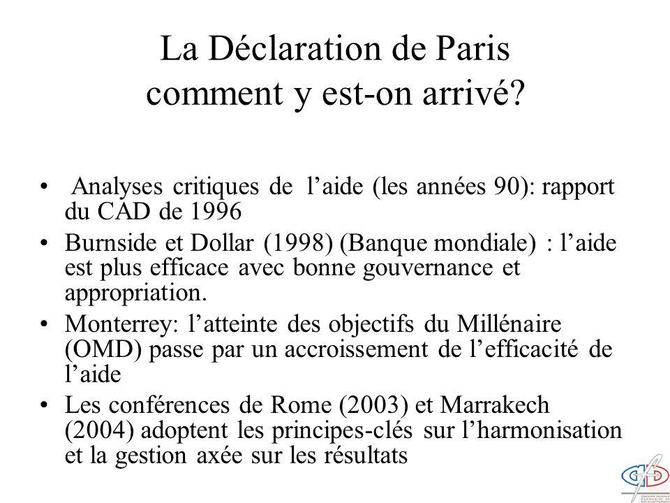 La Déclaration de Paris comment y est-on arrivé? Analyses critiques de laide (les années 90): rapport du CAD de 1996 Burnside et Dollar (1998) (Banque