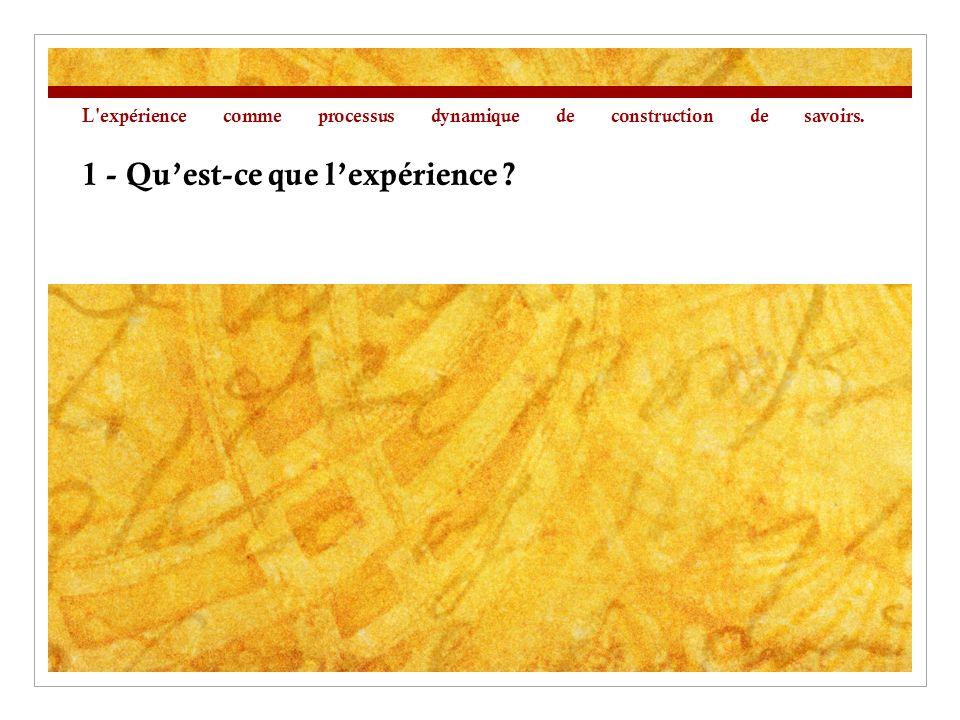L expérience comme processus dynamique de construction de savoirs. 1 - Quest-ce que lexpérience ?