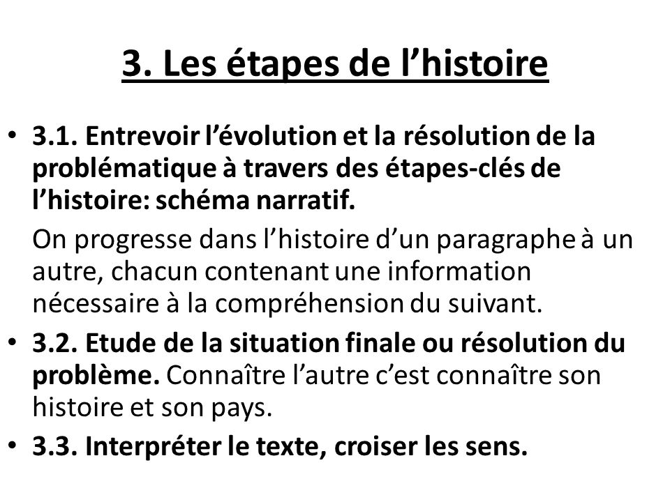 3.Les étapes de lhistoire 3.1.