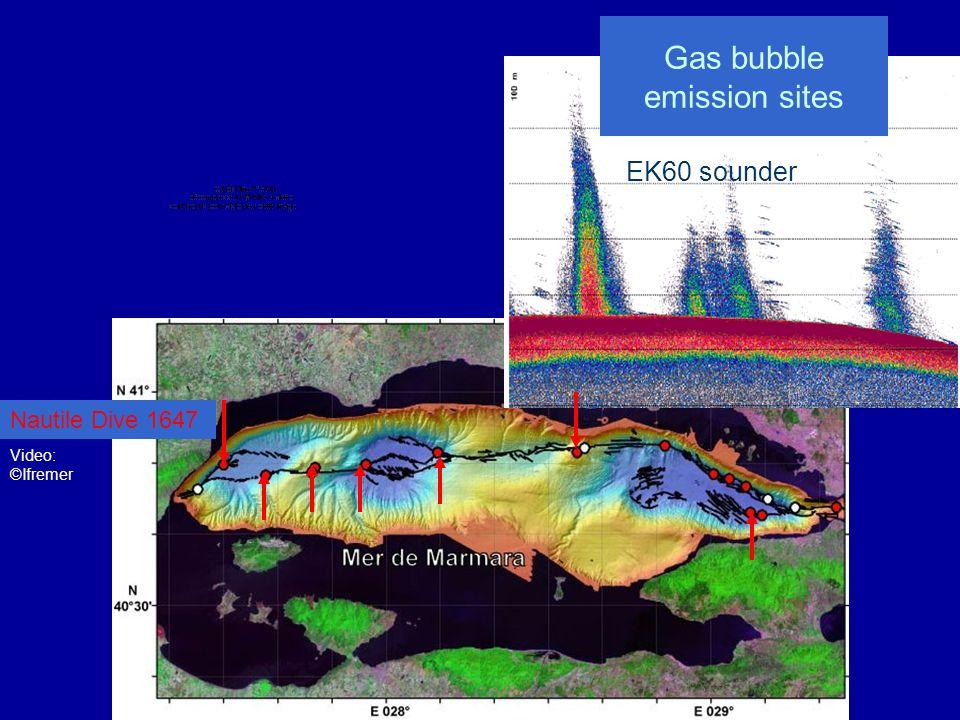 Détection accoustique des émissions de bulles Mai-Juin 2007 EK60 - Engin remorqué en surface 38 kHz Septembre 2000 SAR - Engin remorqué près du fond 1