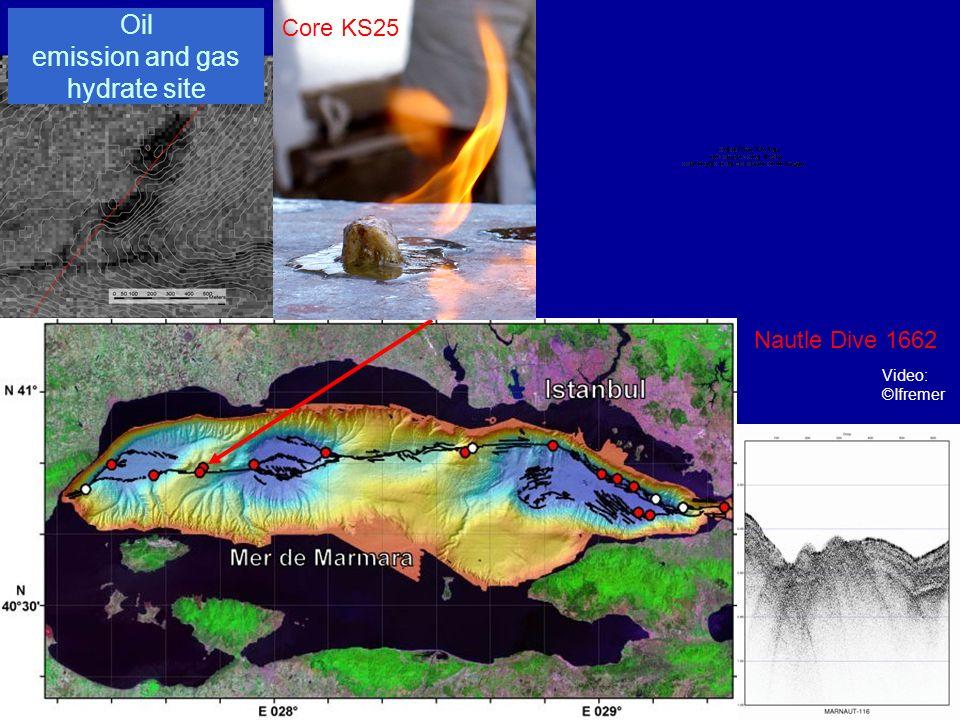 Prochaine Etape : la campagne MarmEsonet (printemps 2009) Actions proposées : 1) Détection systématique des sorties de fluide et micro-bathymétrie des sites à laide de lAUV de lIfremer équipé dun sondeur EK60 et dun sondeur multi-faisceaux de type EM-2000 2) Imagerie fine des conduits empruntés par les fluides jusquà la surface des sédiments, en un site donné, à partir du système de sismique 3D HR disponible à lIfremer ; 3) Enregistrement couplé en chaque site de la micro-sismicité, des pressions interstitielles et des débits à linterface eau/sédiment pendant un an.
