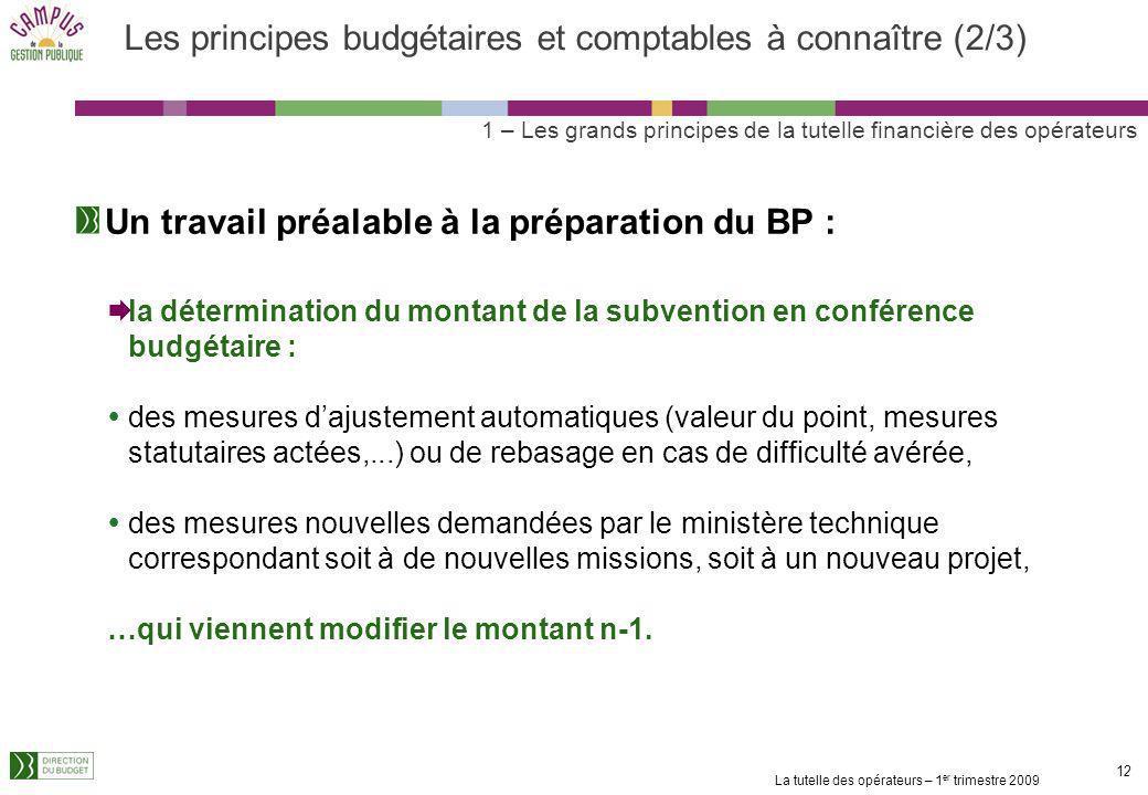La tutelle des opérateurs – 1 er trimestre 2009 11 Les principes budgétaires et comptables à connaître (1/3) Annualité budgétaire létablissement doit