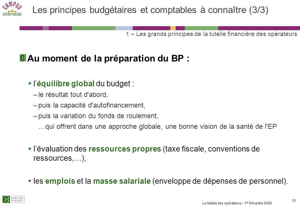 La tutelle des opérateurs – 1 er trimestre 2009 12 Les principes budgétaires et comptables à connaître (2/3) Un travail préalable à la préparation du