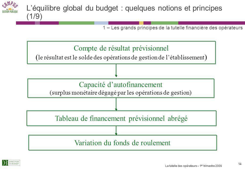 La tutelle des opérateurs – 1 er trimestre 2009 13 Les principes budgétaires et comptables à connaître (3/3) Au moment de la préparation du BP : léqui