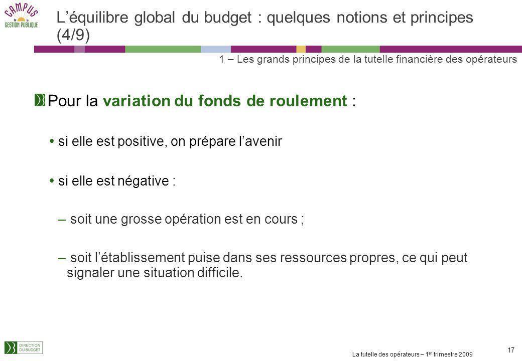 La tutelle des opérateurs – 1 er trimestre 2009 16 Léquilibre global du budget : quelques notions et principes (3/9) La capacité dautofinancement est