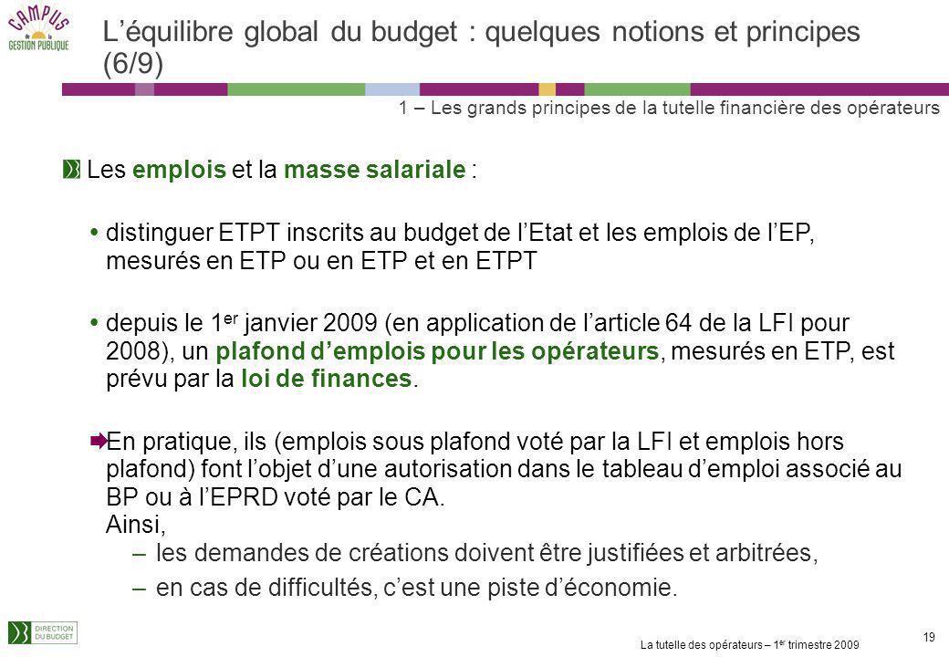 La tutelle des opérateurs – 1 er trimestre 2009 18 Léquilibre global du budget : quelques notions et principes (5/9) Lévaluation des ressources propre