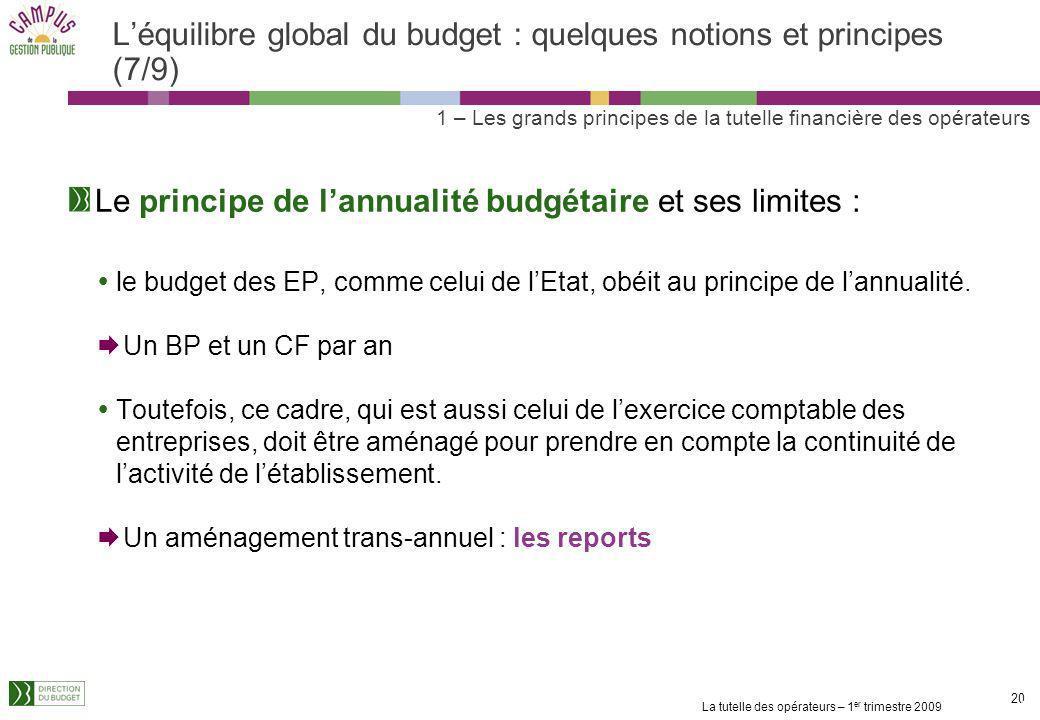 La tutelle des opérateurs – 1 er trimestre 2009 19 Léquilibre global du budget : quelques notions et principes (6/9) Les emplois et la masse salariale