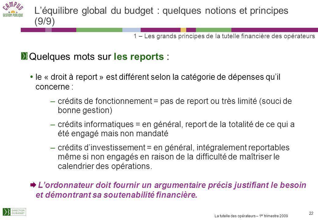 La tutelle des opérateurs – 1 er trimestre 2009 21 Léquilibre global du budget : quelques notions et principes (8/9) 1 – Les grands principes de la tu