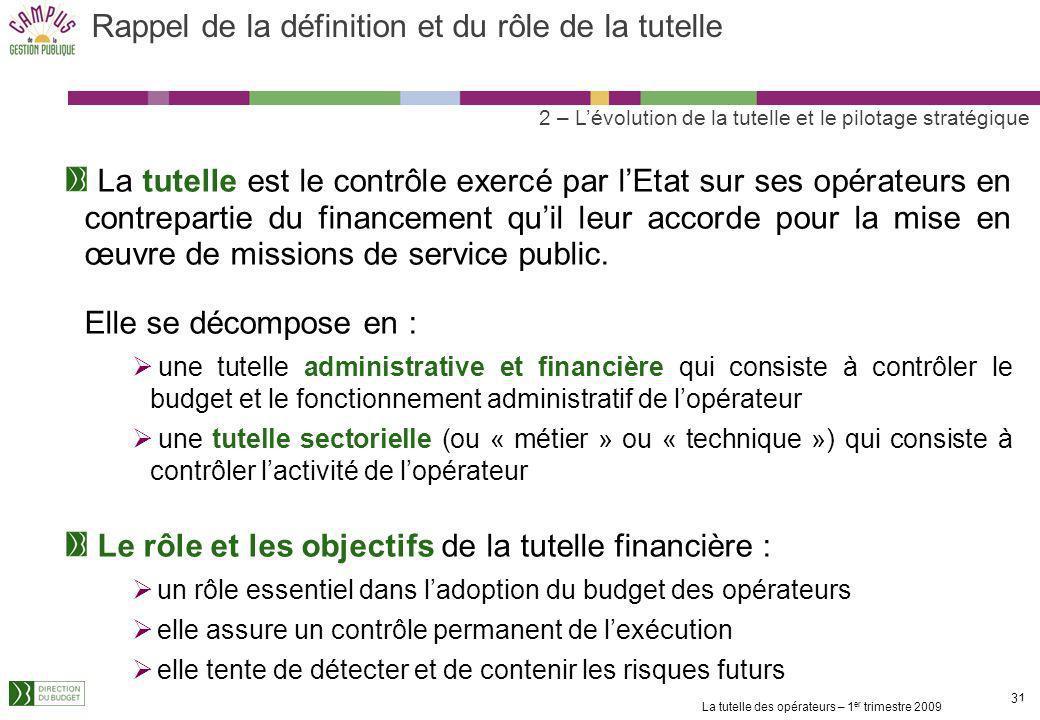 La tutelle des opérateurs – 1 er trimestre 2009 30 1. Les grands principes de la tutelle financière des opérateurs Présentation des intervenants Les g