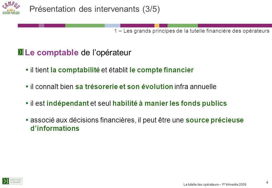 La tutelle des opérateurs – 1 er trimestre 2009 3 3 Présentation des intervenants (2/5) Lautorité chargée du contrôle financier ou économique et finan