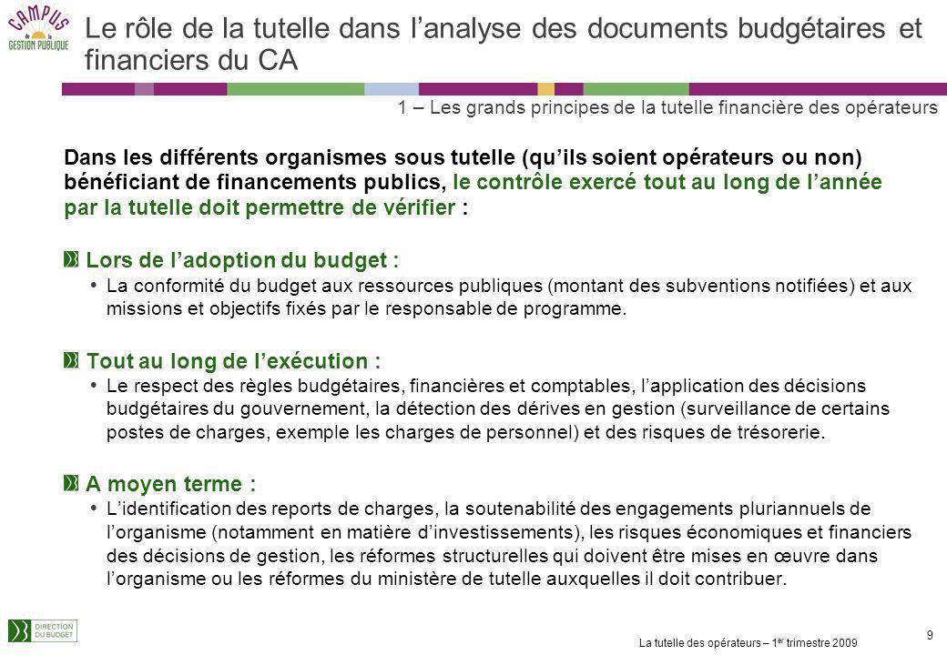 La tutelle des opérateurs – 1 er trimestre 2009 8 8 Les grandes étapes budgétaires de lannée (2/2) 2ème étape : les décisions modificatives (en n) : B