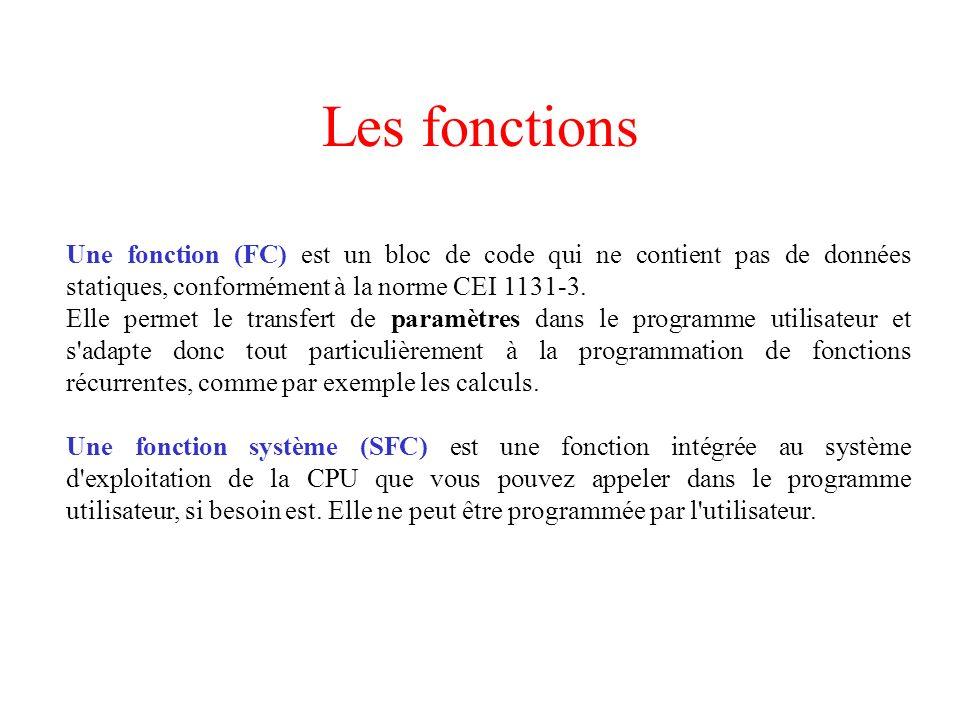 Les fonctions Une fonction (FC) est un bloc de code qui ne contient pas de données statiques, conformément à la norme CEI 1131-3. Elle permet le trans