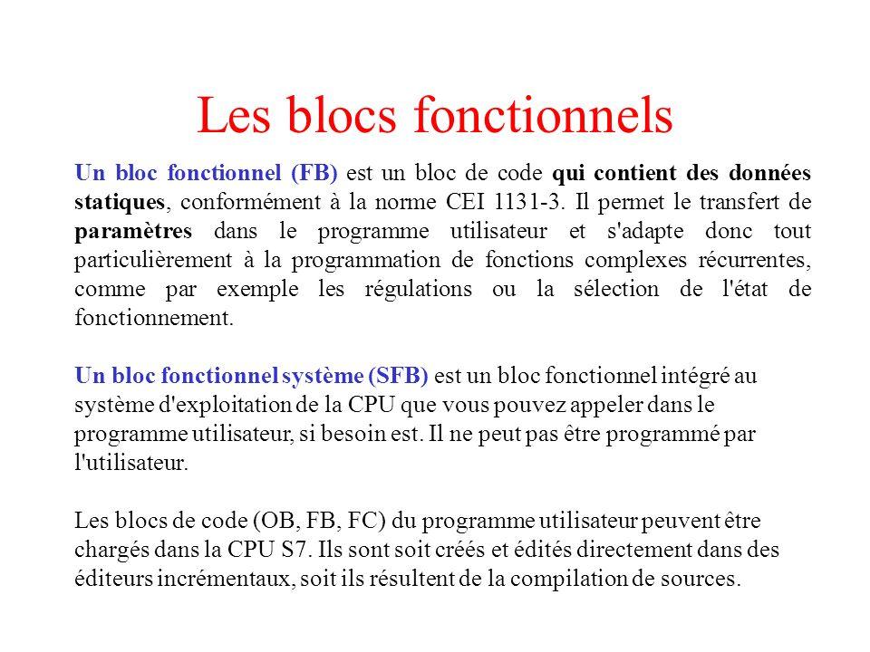 Les blocs fonctionnels Un bloc fonctionnel (FB) est un bloc de code qui contient des données statiques, conformément à la norme CEI 1131-3. Il permet