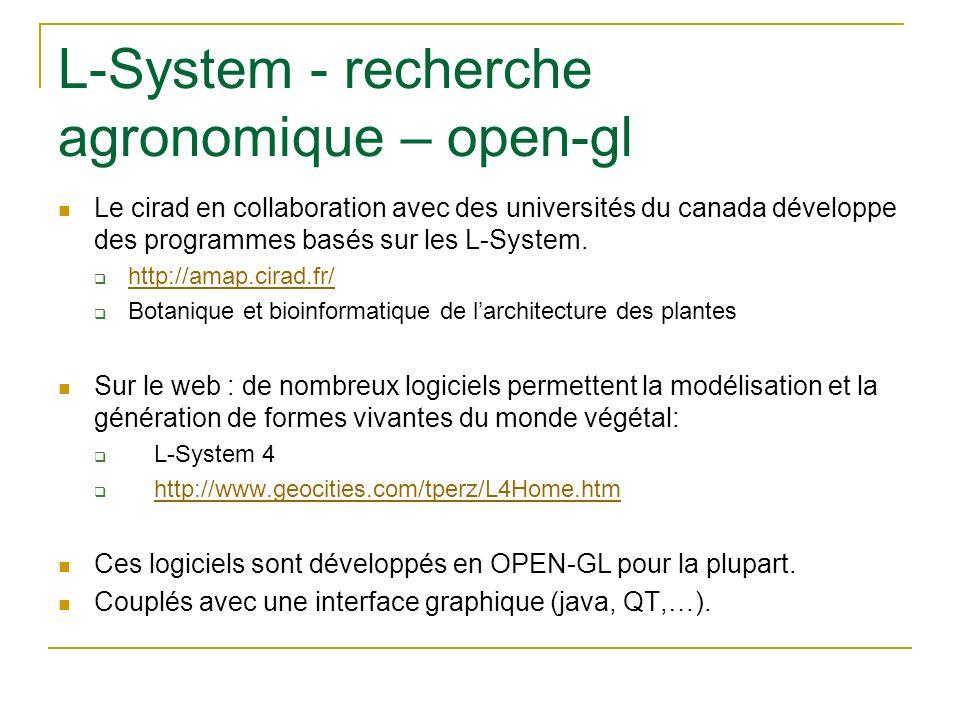 L-System - recherche agronomique – open-gl Le cirad en collaboration avec des universités du canada développe des programmes basés sur les L-System. h