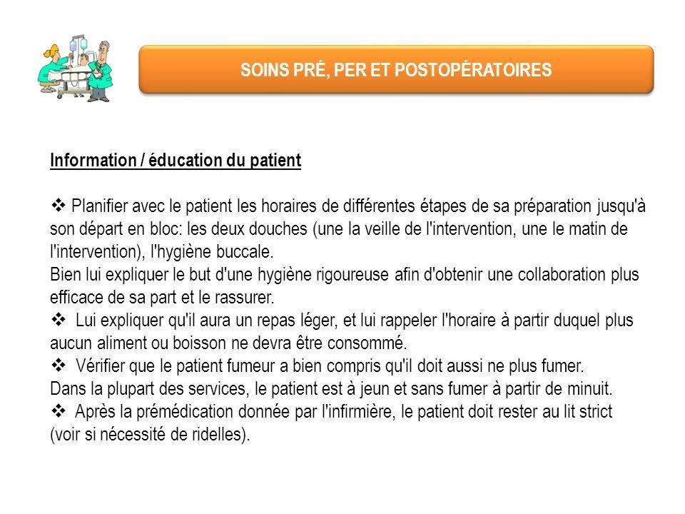 SOINS PRÉ, PER ET POSTOPÉRATOIRES Information / éducation du patient Planifier avec le patient les horaires de différentes étapes de sa préparation ju