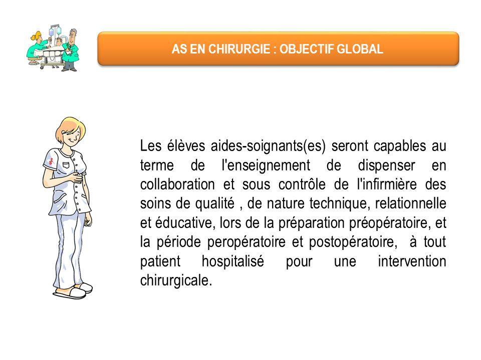AS EN CHIRURGIE : OBJECTIF GLOBAL Les élèves aides-soignants(es) seront capables au terme de l'enseignement de dispenser en collaboration et sous cont
